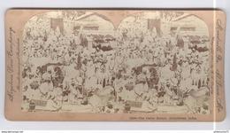 Photo Stéréoscopique Opaque 17,5 X 9 Cm - Marché - Cattle Bazzar , Ahmedabad , India 1901 - Photos Stéréoscopiques