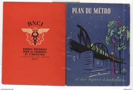 Dépliant Plan Du Métro Et Des Lignes D'Autobus - Paris - BNCI Banque Nationale Commerce Industrie - Circa 1960 - Europe