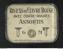 Boite Métal Rivets En Cuivre Rouge GM - Dimensions 50 X 65 X 15 Mm - Fabricant Vinatié à Bordeaux - Boîtes