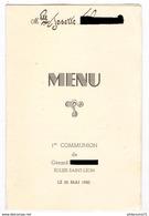 Menu 1ère Communion - Eglise Saint Léon - 25 Mai 1950 - Menus