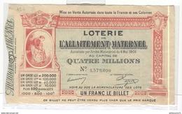Billet De Loterie De L'Allaitement Maternel 15 Mars 1906 - Très Bon état - Billets De Loterie