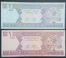 E11g2 Banknotes - Afghanistan 2002 P-64a UNC 1 Afghani & 2002 P-65a UNC 2 Afghani - Afghanistan
