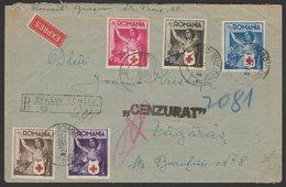 Enveloppe RECOMMANDEE Avec 5 Timbres De La CROIX ROUGE ROUMAINE De 1941 Oblt BRASOU + Sensure > ? - Croix-Rouge