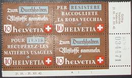 Schweiz Suisse 1942: Altstoff-ZDR Se-tenant Zu Z34b+d Mi WZd.2+3 (SBK Block 254I) ** MNH (Zu CHF 30.00 - 35.00) - Se-Tenant