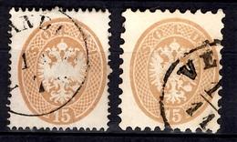Lombardo-Vénétie YT N° 22 Et N° 27 Oblitérés. B/TB - Lombardo-Vénétie