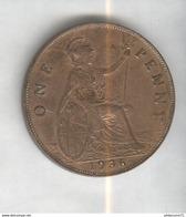 1 Penny Angleterre 1936 Georges V SUP - 1662-1816 : Antiche Coniature Fine XVII° - Inizio XIX° S.