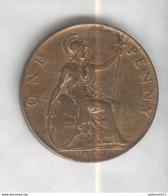 1 Penny Angleterre 1907 Edouard VII SUP - 1662-1816 : Antiche Coniature Fine XVII° - Inizio XIX° S.