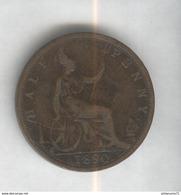 Half Penny Angleterre 1890 Victoria TTB - 1816-1901 : Coniature XIX° S.