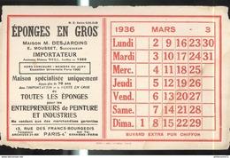 Buvard Desjardins - Eponges En Gros - Clandrier Mars 1936 - Etat Moyen - Vloeipapier