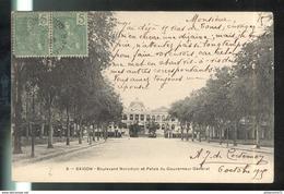CPA Indochine - Saïgon - Boulevard Norodom Et Le Palais Du Gouverneur Général - Circulée 1905 - Viêt-Nam