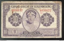 Billet 10 Francs Luxembourg Type 1944 - Luxemburgo