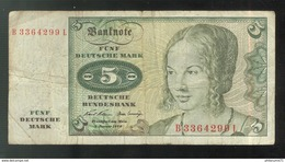 Billet 5 Mark Allemagne Type 1970 - [ 7] 1949-… : RFA - Rep. Fed. De Alemania