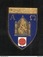 Badge Emaillé Blason De Montpellier - Vierge à L'enfant Stylisée - Dos Lisse - Religion &  Esoterik