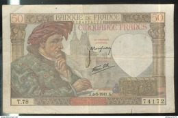 Billet 50 Francs France Jacques Coeur 8-5-1941 - 1871-1952 Antichi Franchi Circolanti Nel XX Secolo