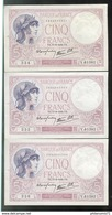 Série De 3 Billets Consécutifs 5 Francs Violet France 17-8-1939 - SUP - 1871-1952 Anciens Francs Circulés Au XXème