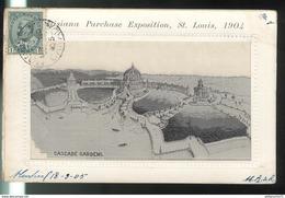 CPA Saint Louis - Louisiana Purchase Exposition 1904 - Cascade Gardens - Circulée 1905 - St Louis – Missouri