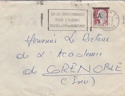 LETTRE ALGERIE. 14 8 62. TLEMCEN POUR GRENOBLE. SURCHARGE  EA.   / 2 - Algeria (1962-...)