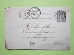 Carte Postale écrite à TREIGNY, Oblitérée BRINON-LES-ALLEMANDS & PREMERY (58) 20/06/1895 Entier Sage Noir 10c - Marcophilie (Lettres)