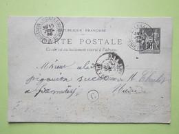 Carte Postale écrite à BUSSY-LA-PESLE, Oblitérée BRINON-LES-ALLEMANDS & PREMERY (58) 15/07/1898 Entier Sage Noir 10c - Postmark Collection (Covers)