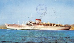 Cartolina Nave Mn Giulio Cesare Timbro Filatelico 1971 Francobollo Lit 25 Livorn - Cartoline