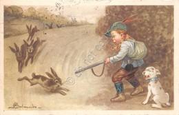 Cartolina Bambino Cacciatore Fucile Cane Caccia Coniglio 1934 Illustrata Colombo - Cartoline