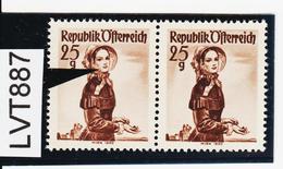 LTV887 ÖSTERREICH 1951 Michl 916 PLATTENFEHLER FARBFLECK WANGE ** Postfrisch - Abarten & Kuriositäten