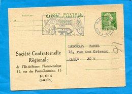 """Entier Postal- Stationnery-carte12frs Marianne De Muller-TSC-Laboratoire """"FAMEL"""" Cad +flamme1957 Dites Avec Des Fleurs.. - Entiers Postaux"""