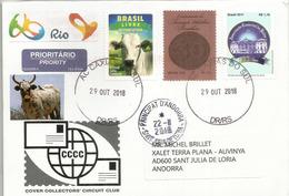 Le Brésil Sans Fièvre Aphteuse 2018, Lettre De Rio Grande Do Sul, Adressée Andorra, Avec Timbre à Date Arrivée - Brazil