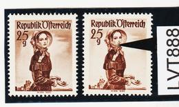 LTV888 ÖSTERREICH 1951 Michl 916 PLATTENFEHLER FARBFLECK WANGE ** Postfrisch - Abarten & Kuriositäten