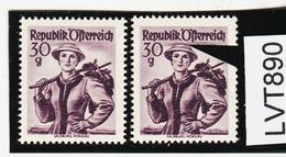 LTV890 ÖSTERREICH 1950 Michl 900 PLATTENFEHLER HUTFEDER ** Postfrisch - Abarten & Kuriositäten