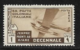 Italian Colonies Scott # C22 Mint Hinged Plane, 1933, Thin - Italy