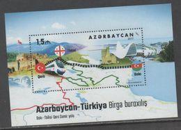 AZERBAIJAN, 2017, MNH, TRAINS, BAKU-TBILISI-KARS RAILWAY, FLAGS, MOUNTAINS, S/SHEET - Trains
