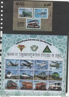 IRAQ ,2017, MNH, MEANS OF TRANSPORTATION IN IRAQ,  PLANES, TRAINS, BUSES, SHEETLET+ S/SHEET - Airplanes