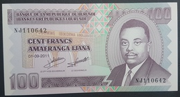 E11kb Banknote - Burundi 100 Francs, 2011, P-44b,, UNC - Burundi