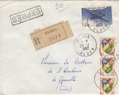 LETTRE ALGERIE.  28 4 62. EXPRES RECOMMANDÉ. BLIDA  POUR GRENOBLE .   / 3 - Algeria (1924-1962)