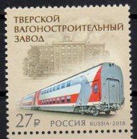 RUSSIA, 2018, MNH, TRAINS, TVER CARRIAGE WORKS, RAILWAY MATERIALS, 1v - Treni