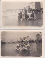 LOT DE 2 CARTES PHOTOS  GROUPE DE BAIGNEURS EN MAILLOT DE BAIN CABINE (REGION REGION ?)  ACHAT IMMEDIAT - Swimming