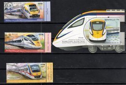 MALAYSIA, 2018, MNH, TRAINS, ELECTRIC TRAINS ,3v+ TRAIN-SHAPED S/SHEET - Treni
