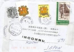 Belle Lettre D'Andorre , Adressée Japon, RETOUR , Avec Timbre à Date . Deux Photos Recto-verso - Andorre Français