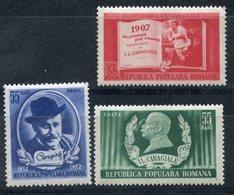 Y85 ROMANIA 1952 1386-1388 100th Anniversary Of The Birth Of Jon Caragiale, 1852-1912 (MLH) - Nuevos