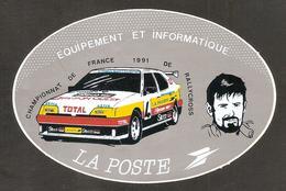Autocollant Championnat De France 1991 De Rallycross  ( Equipement Et Informatique LA POSTE ) Citroën - Rallyes