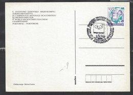 Chess, Yugoslavia Portoroz, September 1989, Special Cancel On Postcard, World Microcomputer Chess Championship - Schaken