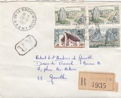 LETTRE. 29 8 67.  RECETTE-DISTRIBUTION PERLÉ. RECOMMANDÉ DROME LA ROCHE-DE-GLUN POUR GRENOBLE.   / 3 - Marcophilie (Lettres)