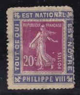 """PUBLICITE PORTE-TIMBRES SEMEUSE 20C """"TOUT CE QUI EST NATIONAL EST NOTRE"""" PHILIPPE VIII NEUF - Advertising"""