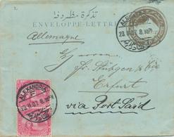 213/27 - EGYPTE Entier Postal + Paire TP De La Rue ALEXANDRIA 1907 Vers ERFURT Allemagne - TB Affranchissement - Égypte