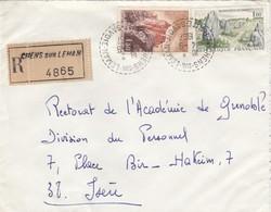 LETTRE. 4 9 67.  RECETTE-DISTRIBUTION PERLÉ. RECOMMANDÉ. HAUTE-SAVOIE CHENS-SUR-LEMAN POUR GRENOBLE.   / 3 - Marcophilie (Lettres)