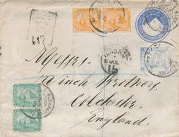 215/27 - EGYPTE Entier Postal + 5 TP De La Rue ALEXANDRIE1897 Vers UK - TB Affranchissement RECOMMANDE3 Piastres - Égypte