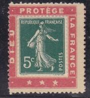 """PUBLICITE PORTE-TIMBRES SEMEUSE 5C """"DIEU PROTEGE LA FRANCE """" NEUF - Advertising"""