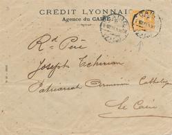 221/27 - EGYPTE Lettre TP De La Rue 3 Mills PERFORE C.L Crédit Lyonnais - CAIRO 1913 Vers La Ville - Égypte