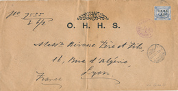 222/27 - EGYPTE Lettre De Service TP De La Rue 1 Piastre Surchargé O.H.H.S.- DAWAWIN CAIRO 1913 Vers LYON - Égypte